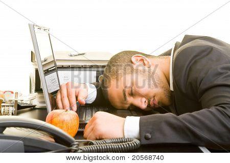 Business Man Sleeping At Work