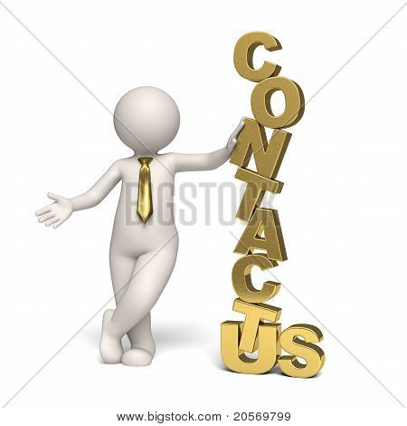 Contact Us - Gold - 3D Business Man