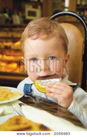 Boy Eating Chocolate