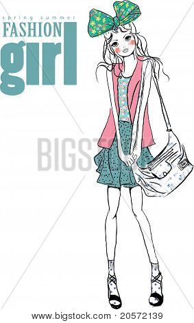 fashion trend illustration girl print