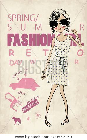 retro fashion girl  print