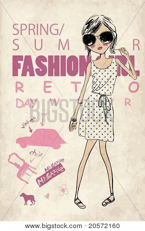retro fashion girl  print