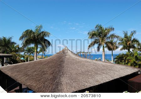 Roof Of The Open-air Restaurant Near Beach And Swimming Pool, Tenerife Island, Spain