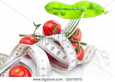 Tomato,fork And Measure Tape On A Plate Isolated On White