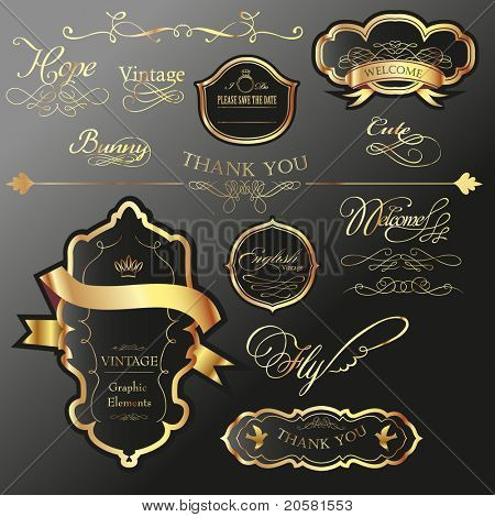 cool golden label tag set with wording calligraphy