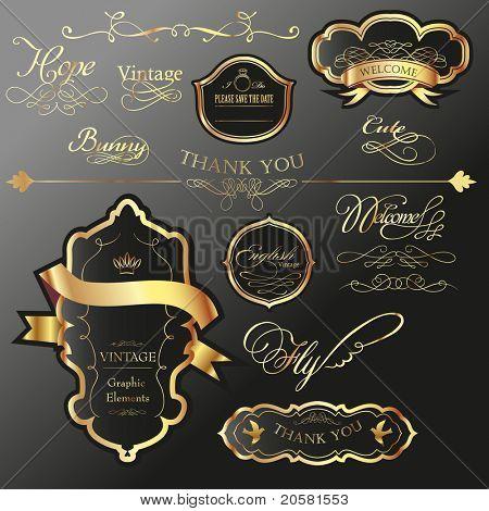 Cool golden Label-Tag mit Wortlaut Kalligraphie set