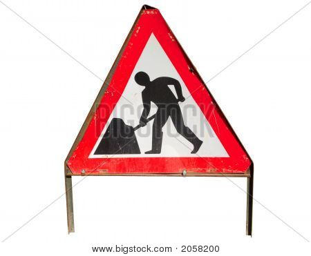 British Roadworks Sign, Isolated On A White Background.