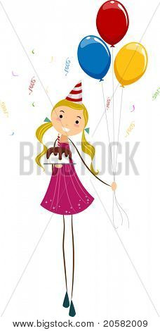 Illustration of a Girl Holding Birthday Balloons and a Cake