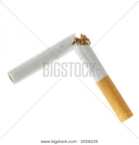 Broken Cigarette Isolated