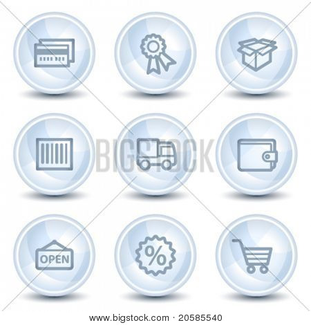 Shopping web icons set 2, light blue glossy circle buttons