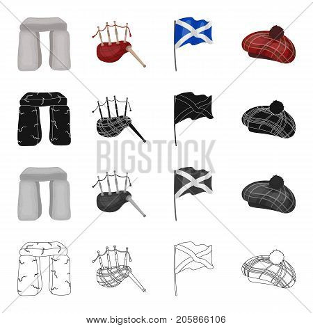 A sight Stonehenge, the musical bagpipe tool, a national flag of Scotland, Tam o'Shanter. Country Scotland set collection icons in cartoon black monochrome outline style vector symbol stock illustration .