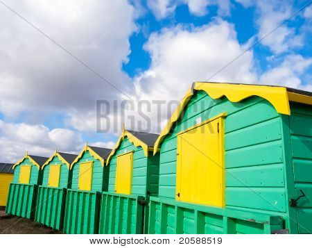 Colourful Beach Huts At Littlehampton, England