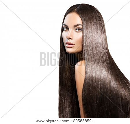 poster of Beautiful long Hair. Beauty woman with luxurious straight brown hair. Beautiful brunette Model, Heal