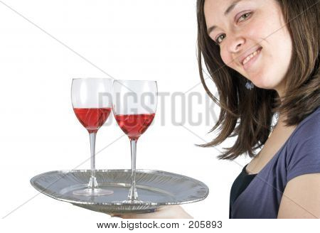Casual Smiling Woman Holding A Wine Tray