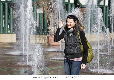 Girl In The Fountain Square In Memphis