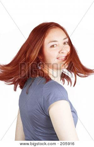 Beautiful Woman With Coloured Hair In Movement