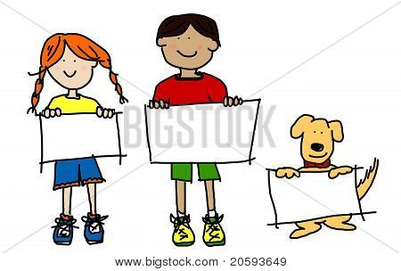 Kids And Dog Holding Empty Signs Illustration