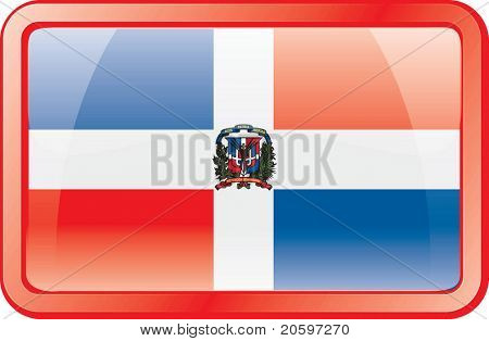 Dominican Republic Flag Button. Flag icon.