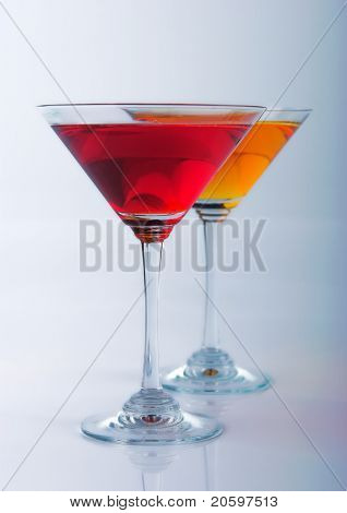 martini glasses on a bar