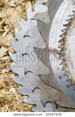 Sawblades from a circular saw on a sawdust