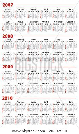 Calendar for 2007, 2008, 2009 and 2010