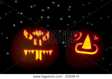 Two Carved Pumpkins