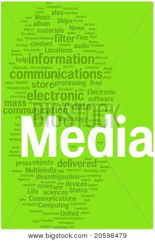 Media word cloud illustration. Graphic tag collection.
