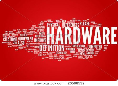 Hardware word cloud illustration. Graphic tag collection