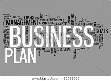 Abbildung der Business Plan Wort Wolke. Comic Tag collection