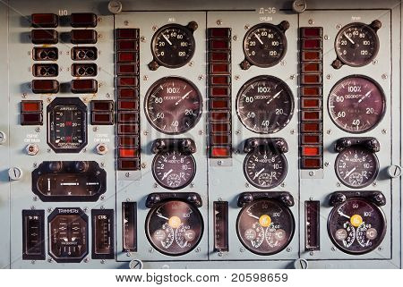 airplane dash board, lots of dials