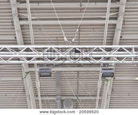 exhibition equipment: spotlight on a metal frame