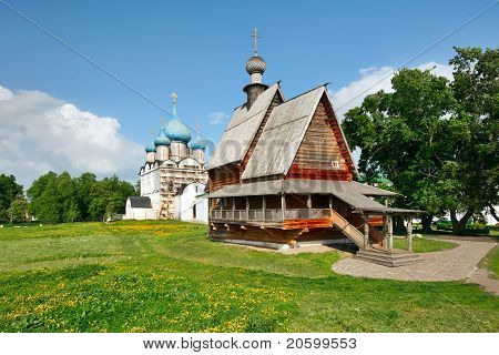 Wooden Church Nikola's And Nativity Cathedral In Suzdal Kremlin. Russia