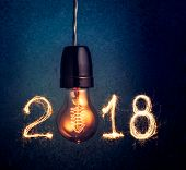 2018 Written With Sparkle Firework And  Light Bulb , Abstract 2018 Happy New Year Background Concept poster