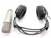 stock photo of recording studio  - A modern set of recording headphones and microphone - JPG