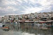stock photo of piraeus  - View of Mikrolimano Port in Piraeus near Athens Greece at sunset - JPG