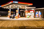 Blurred Image Of Gas Station In Lithuania At Night. Defocused Gas Station And Convenience Store In E poster