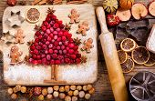 Christmas Food. Ingredients For Cooking Christmas Baking, Top View poster