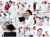 picture of blinders  - Collage of business people at work - JPG