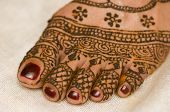 picture of henna tattoo  - Henna just applied on bride - JPG