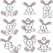 stock photo of thumper  - Set of illustration of cartoon cute rabbits - JPG