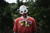 closeup of a scary evil clown wearing a dirty red costume in the woods poster