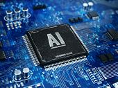 AI, Artificial Intelligence concept - Computer chip microprocessor with AI sign and binary code. 3d  poster