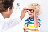 Child At Eye Sight Test. Kid At Optitian. Eyewear For Kids. poster