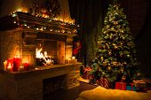 Living room home interior with decorated fireplace and christmas tree poster