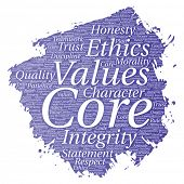 Conceptual core values integrity ethics paint brush concept word cloud isolated background. Collage  poster