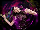 image of night-club  - young woman dancing at disco or a night club - JPG
