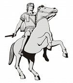 pic of great horse  - Illustration of Alexander the Great riding his horse statue at Thessaloniki Greece - JPG