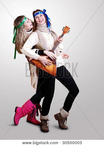 Dancing Russian Girls With Balalaika
