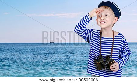Little Ship Boy With Binocular In Hands