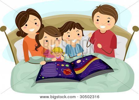 Illustration of Kids Listening to a Bedtime Story